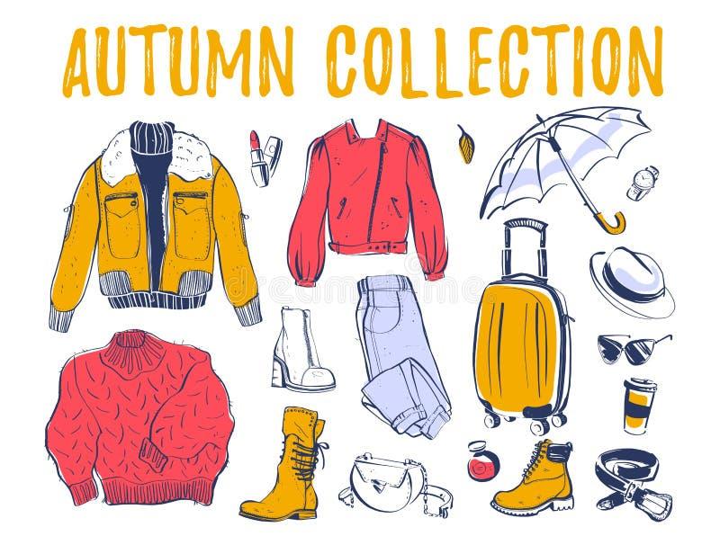 Vektorsamling av den moderiktiga hösten & att övervintra kvinnliga garderobkläder & åtföljande beståndsdelar: omslaget, kängan, p vektor illustrationer