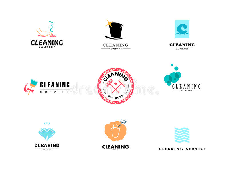 Vektorsamling av den plana logoen för rengörande företag vektor illustrationer