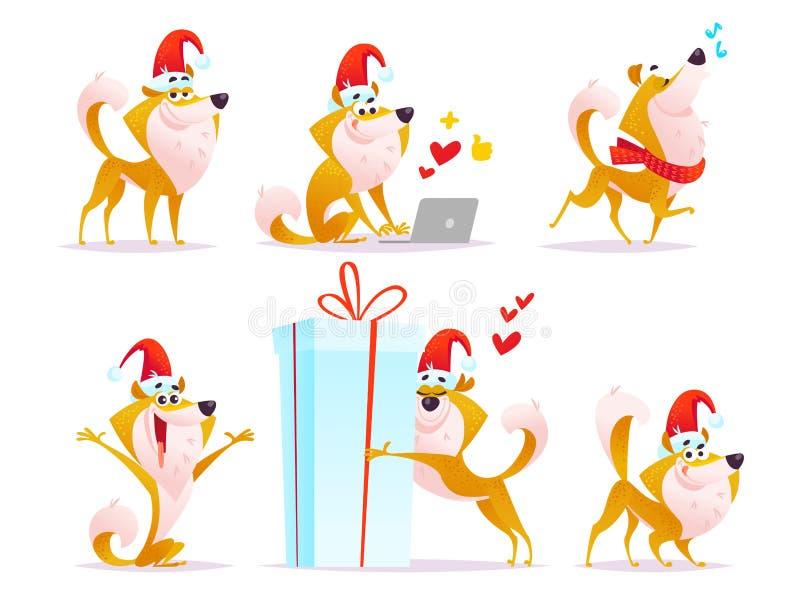 Vektorsamling av den roliga le hunden för tecknad film i den santa hattståenden som isoleras på vit bakgrund vektor illustrationer