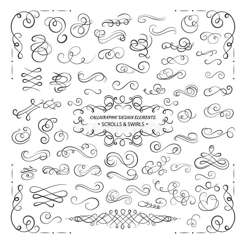 VEKTORsamling av designbeståndsdelar, calligraphic virvlar och snirklar för certifikatgarnering, hälsningkort vektor illustrationer