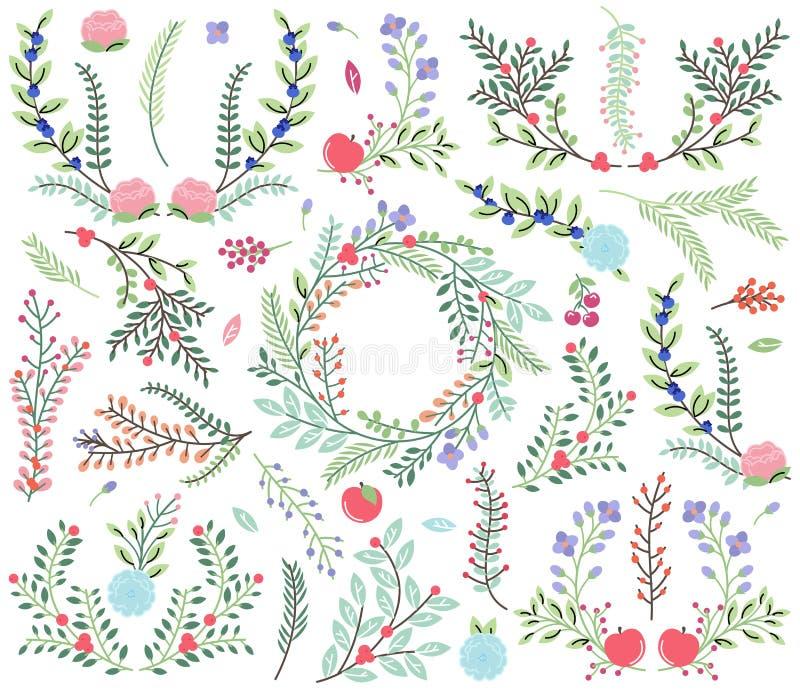 Vektorsamling av dragit blom- för tappningstil hand royaltyfri illustrationer