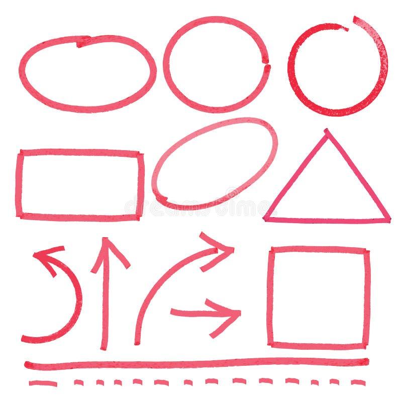 Vektorsamling med enkla designeelement för högre överstrykning - Vector royaltyfri illustrationer