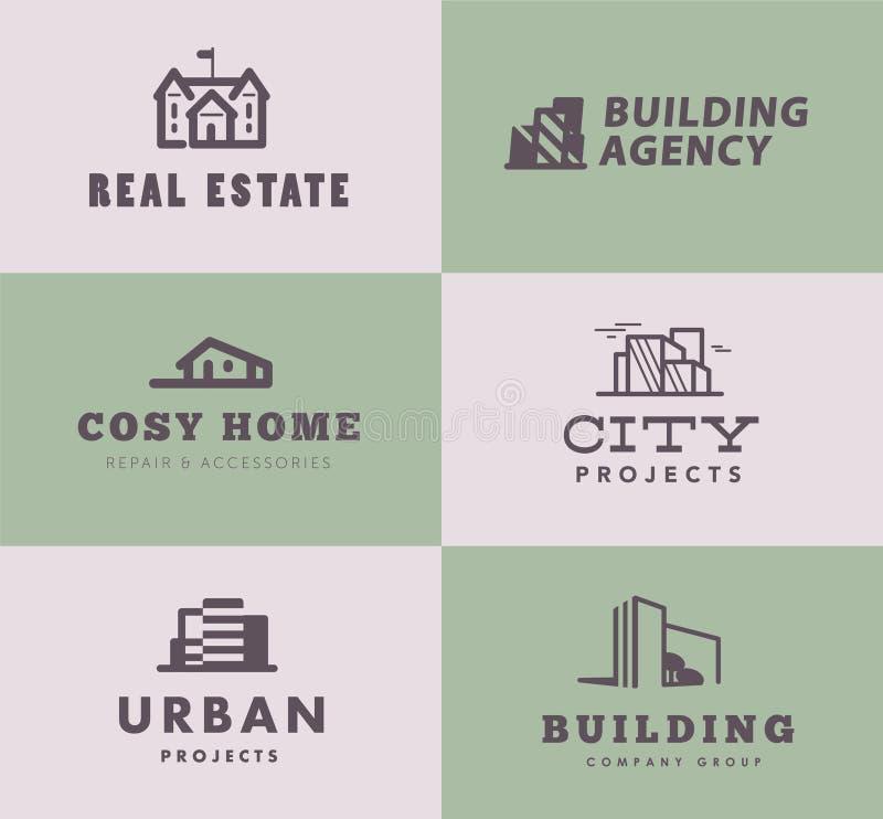 Vektorsamling av enkla stilfulla designer för logo för byrå för för översiktskonstruktionsföretag som & arkitekt isoleras på ljus vektor illustrationer