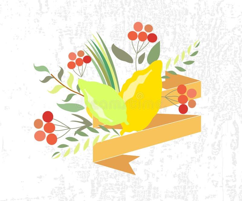 Vektorsamling av etiketter och beståndsdelar för Sukkot royaltyfri illustrationer