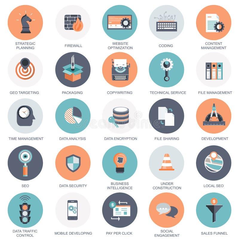 Vektorsamling av färgrika plana symboler för för för för sökandemotoroptimization, affär, teknologi och finanser stock illustrationer