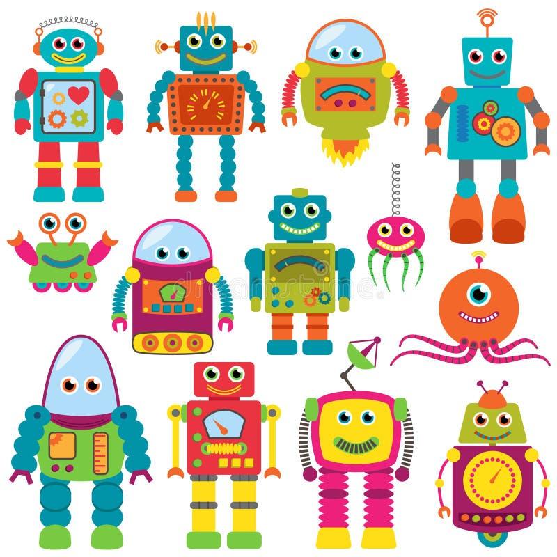 Vektorsamling av färgrika Retro robotar royaltyfri illustrationer