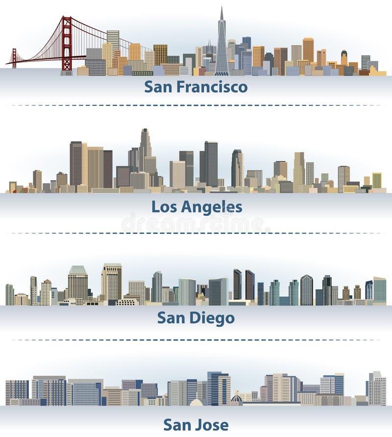 Vektorsamling av Förenta staternastadshorisonter: San Francisco, Los Angeles, San Diego och San Jose vektor illustrationer
