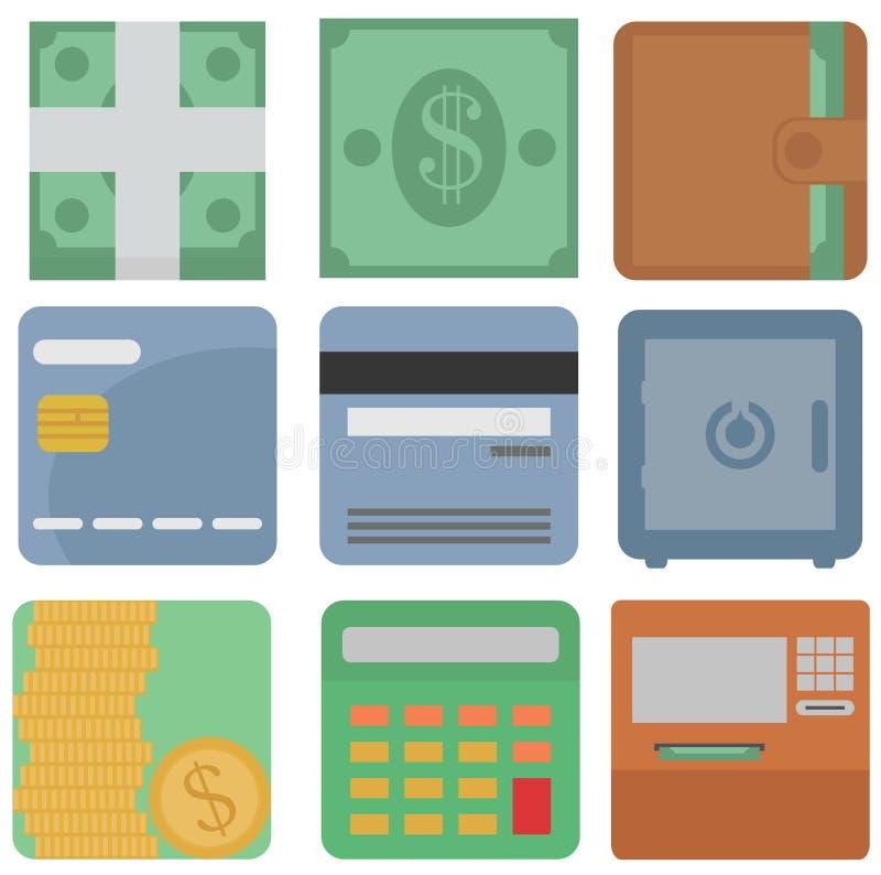 Vektorsamling av finanssymboler: dollar kassa, plånbok, kort, royaltyfri illustrationer