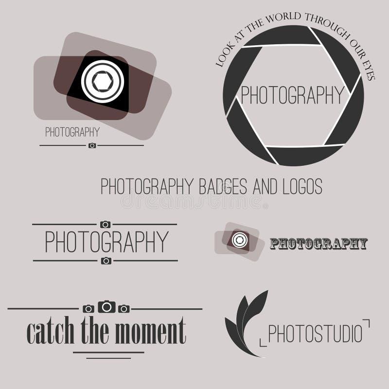 Vektorsamling av fotografilogomallar royaltyfri illustrationer