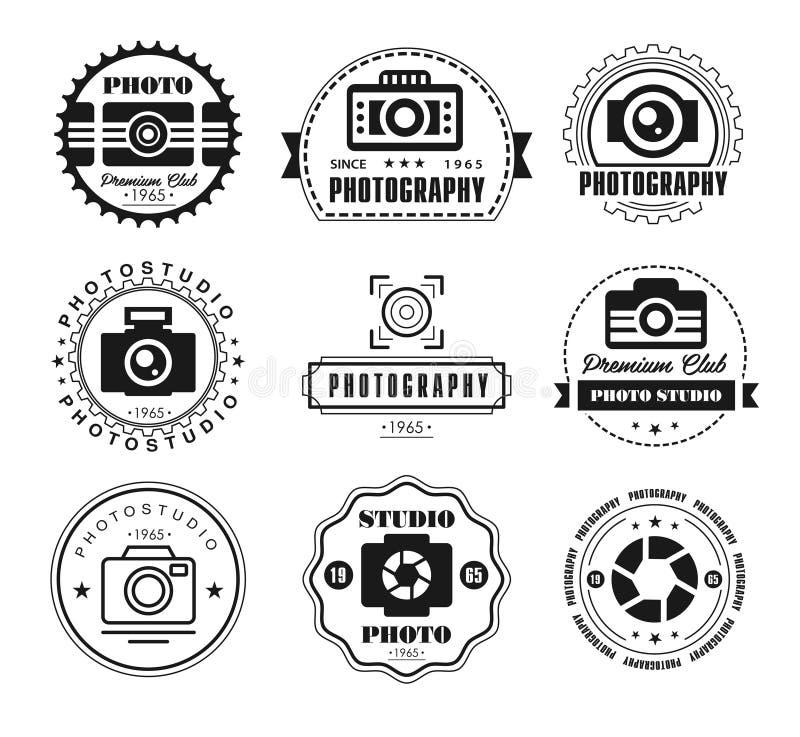 Vektorsamling av fotografilogomallar vektor illustrationer
