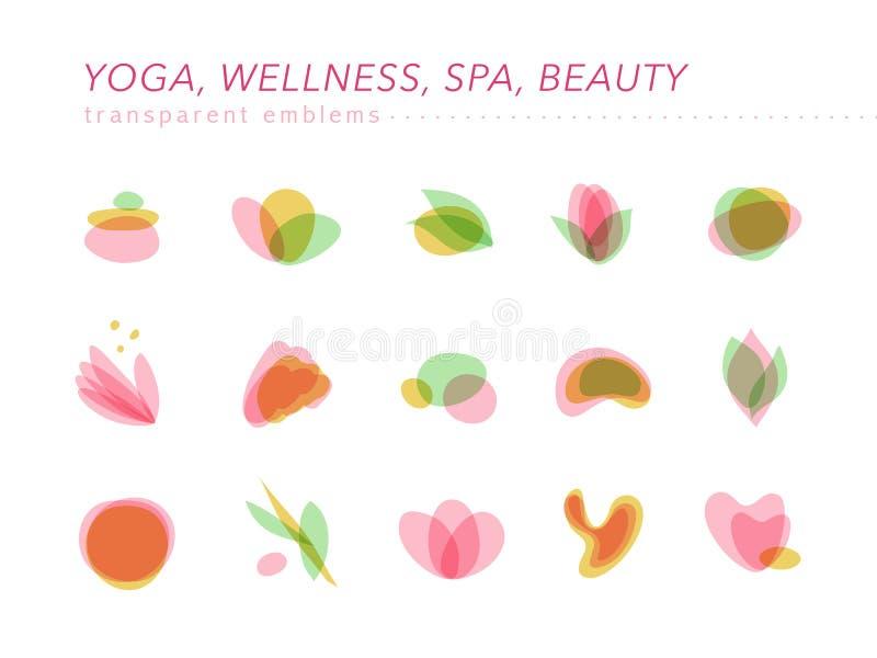 Vektorsamling av genomskinlig skönhet, brunnsort och yogasymboler i ljusa färger som isoleras vektor illustrationer