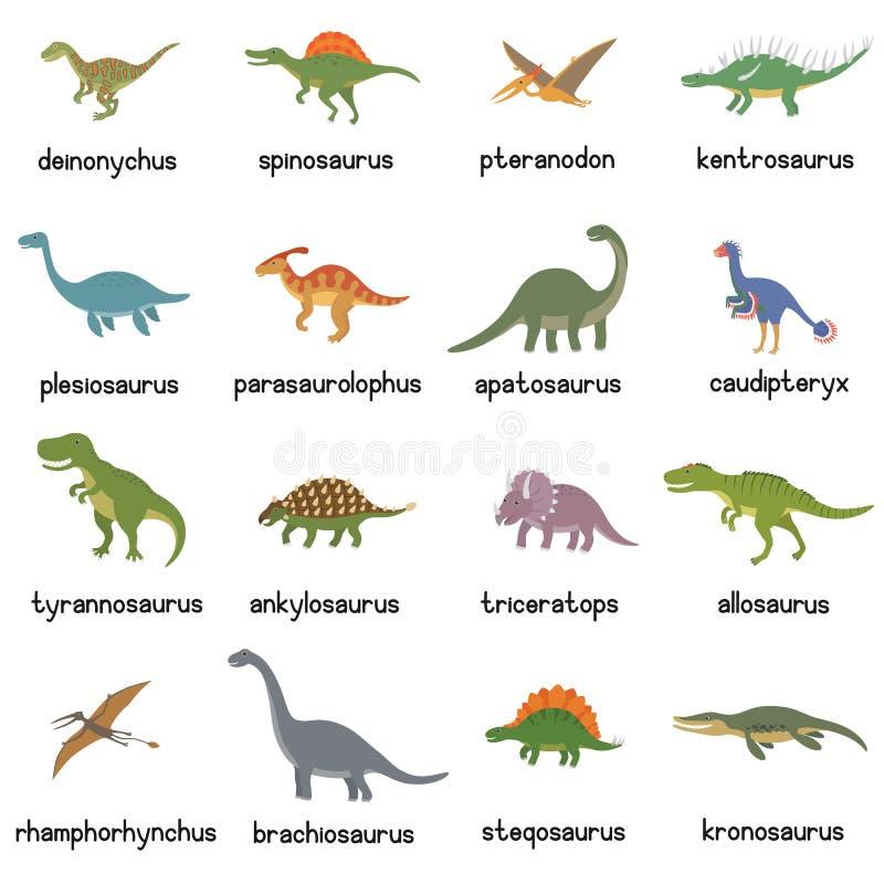 Vektorsamling av gulliga plana dinosaurier, inklusive T-rex, Stegosaurus, Velociraptor, flygödla, Brachiosaurus och stock illustrationer