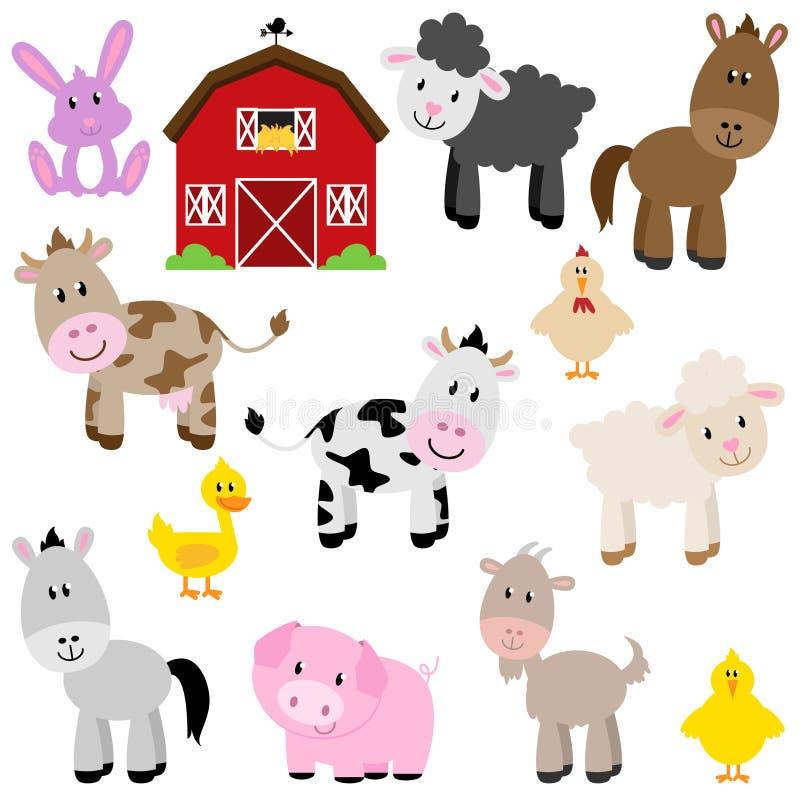 Vektorsamling av gulliga tecknad filmlantgårddjur royaltyfri illustrationer