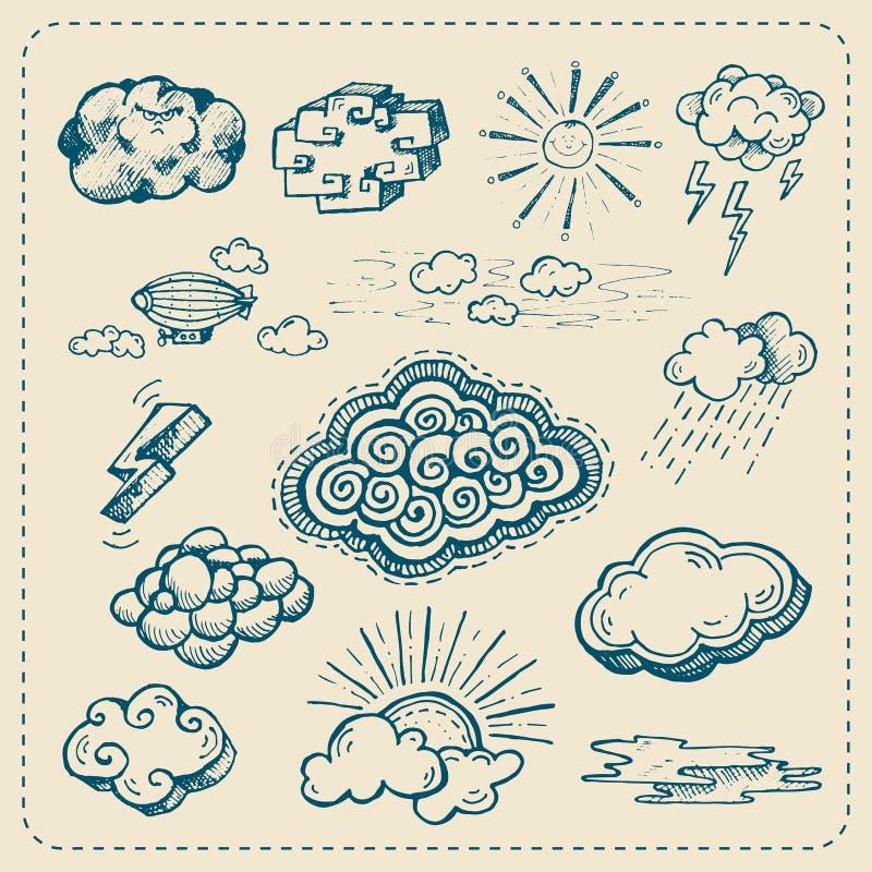 Vektorsamling av hand drog molnsymboler vektor illustrationer