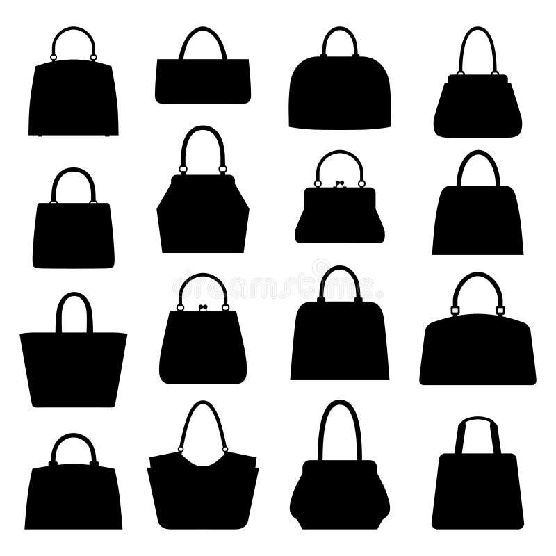 Vektorsamling av handväskor royaltyfri illustrationer