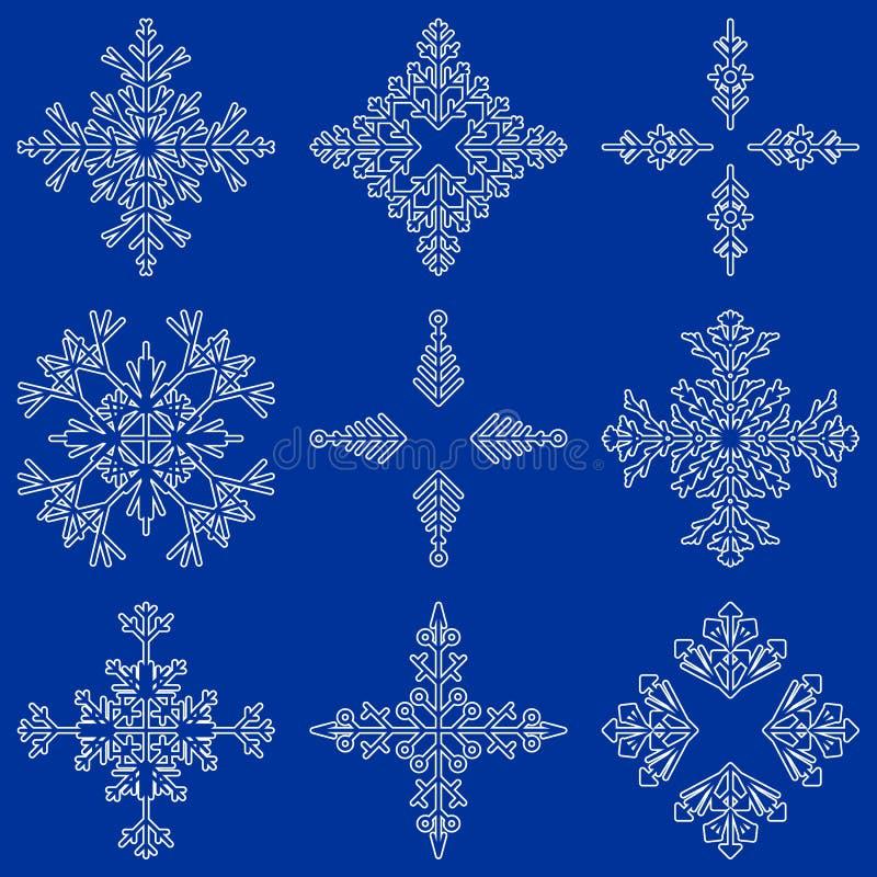 Vektorsamling av konstnärliga iskalla abstrakta kristallsnöflingor som isoleras på bakgrund som gruppen för vinterdecember garner royaltyfri illustrationer