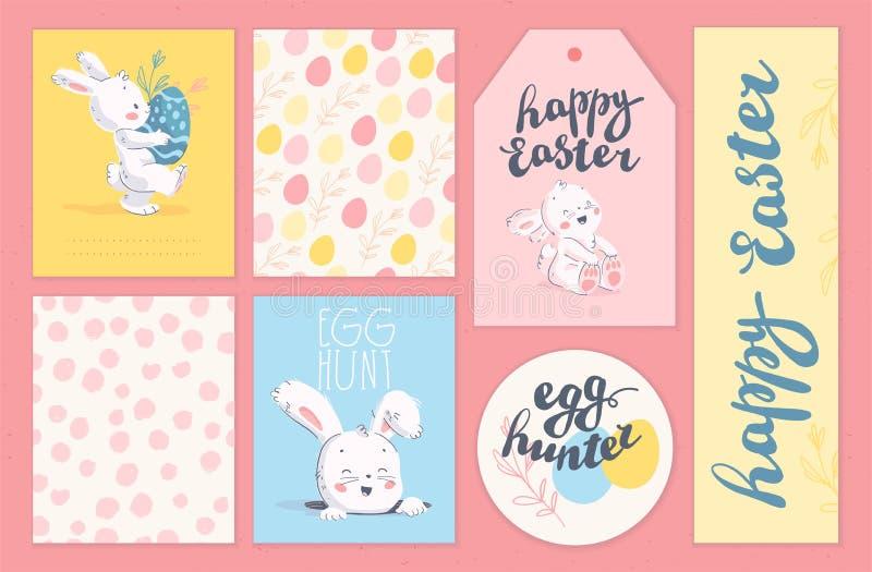 Vektorsamling av kort för påskferielyckönskan, etiketter, klistermärkear med att märka, gulligt litet kanintecken med easter e stock illustrationer