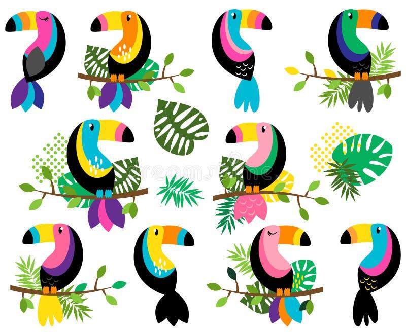 Vektorsamling av ljusa och färgrika tukan och tropiska sidor stock illustrationer