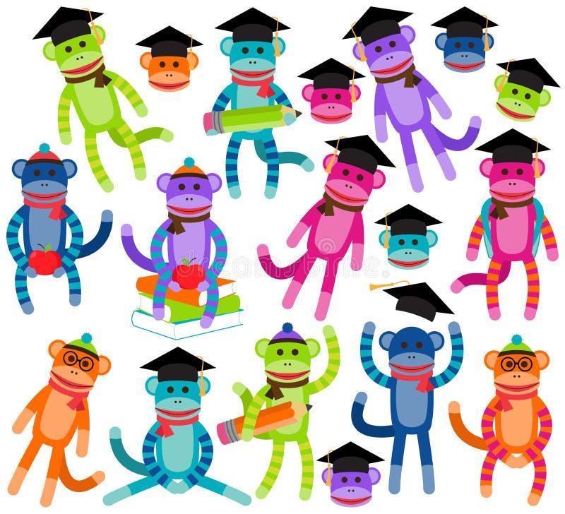 Vektorsamling av ljust färgade för skola och Themed sockaapor för avläggande av examen royaltyfri illustrationer