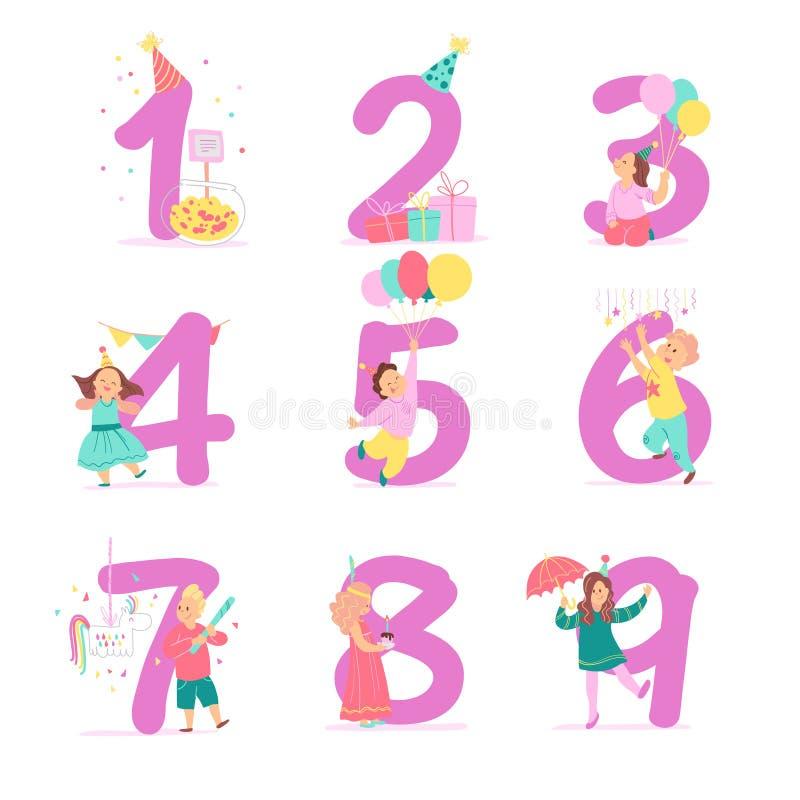Vektorsamling av nummer för födelsedagparti med lyckliga ungetecken som firar, och partihattar, gåvor, godis, pinata, dekorelem royaltyfri illustrationer