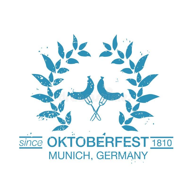 Vektorsamling av Oktoberfest hand drog logomallar stock illustrationer