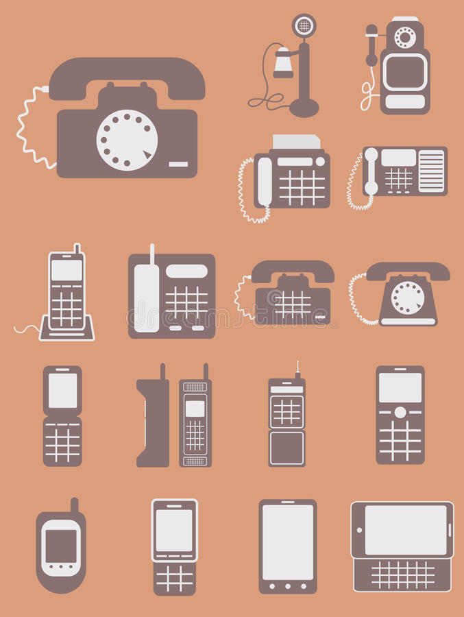 Vektorsamling av olika telefoner, från retro klassiker till ändring royaltyfri illustrationer