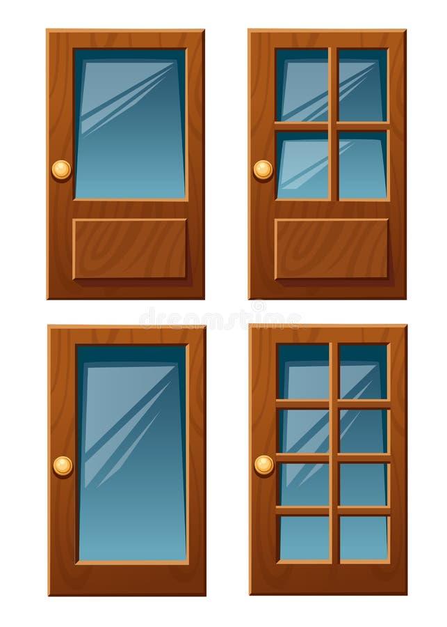 Vektorsamling av olika trähusdörrar med illustrationen för exponeringsglaslägenhetstil som isoleras på den vita bakgrundswebsiten stock illustrationer