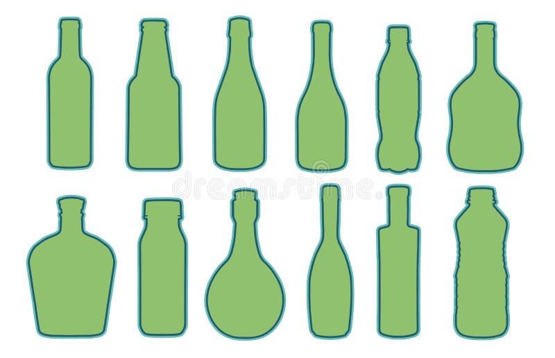 Vektorsamling av olikt format exponeringsglas eller plast- flaskkonturer vektor illustrationer