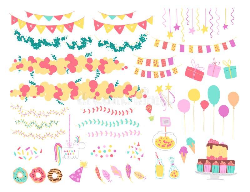 Vektorsamling av plana dekorbeståndsdelar för ungefödelsedagparti - ballonger, girlander, gåvaask, godis, pinata, bd-kaka etc. vektor illustrationer