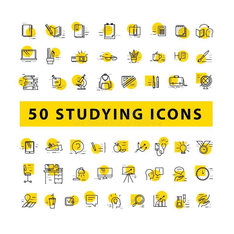Vektorsamling av plana enkla linjära utbildningssymboler som isoleras på vit bakgrund stock illustrationer