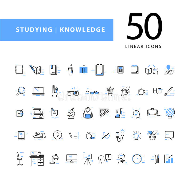 Vektorsamling av plana enkla linjära utbildningssymboler som isoleras på vit bakgrund vektor illustrationer