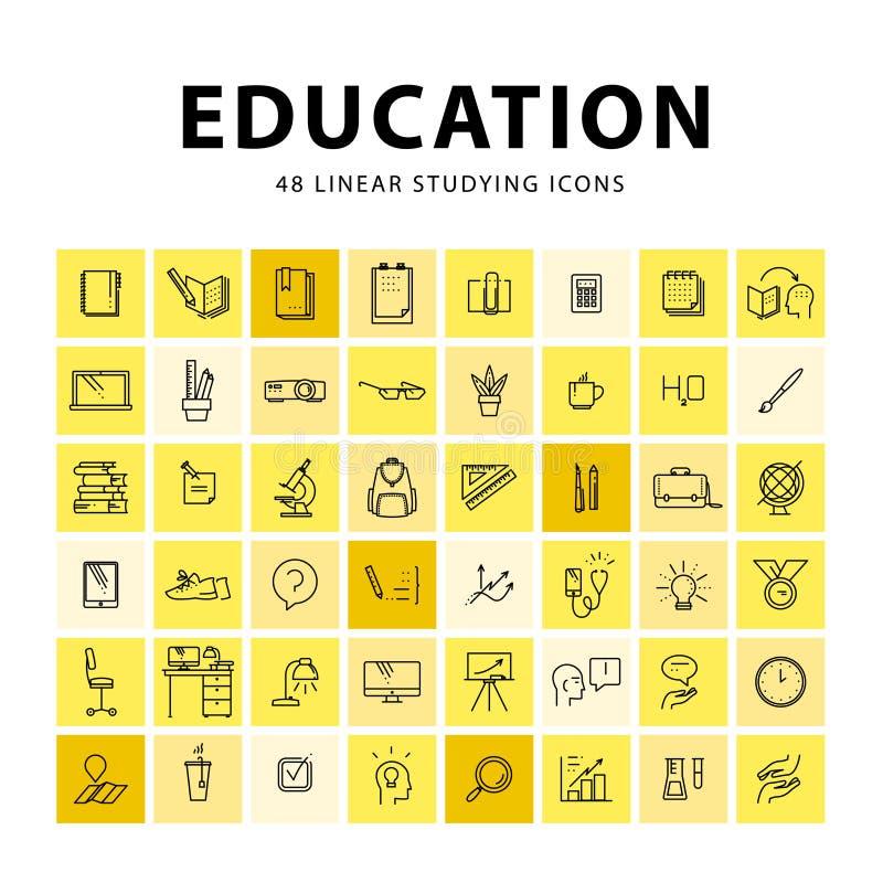 Vektorsamling av plana enkla linjära utbildningssymboler som isoleras på vit bakgrund royaltyfri illustrationer