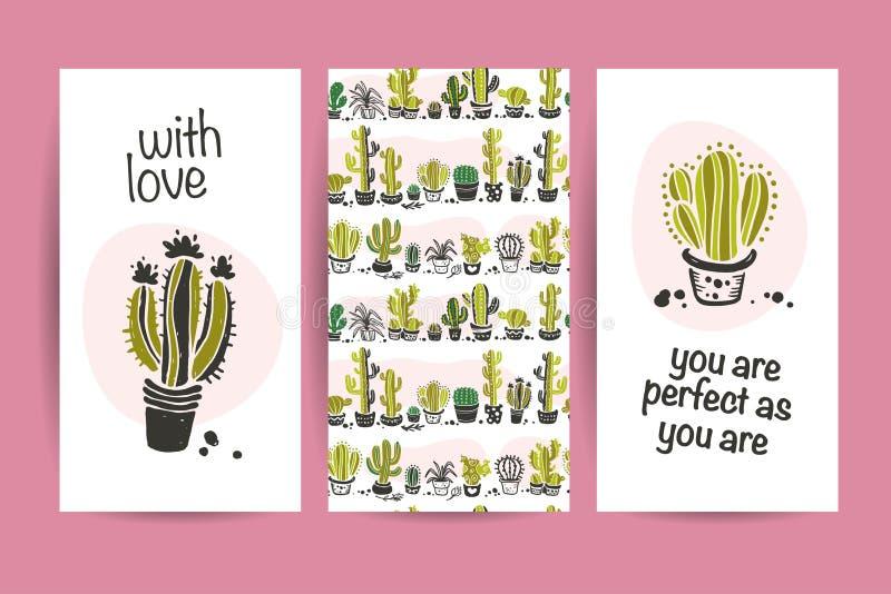 Vektorsamling av plana förälskelsekort med rolig hand drog kaktussymboler och att märka lyckönskan och den sömlösa modellen som i royaltyfri illustrationer