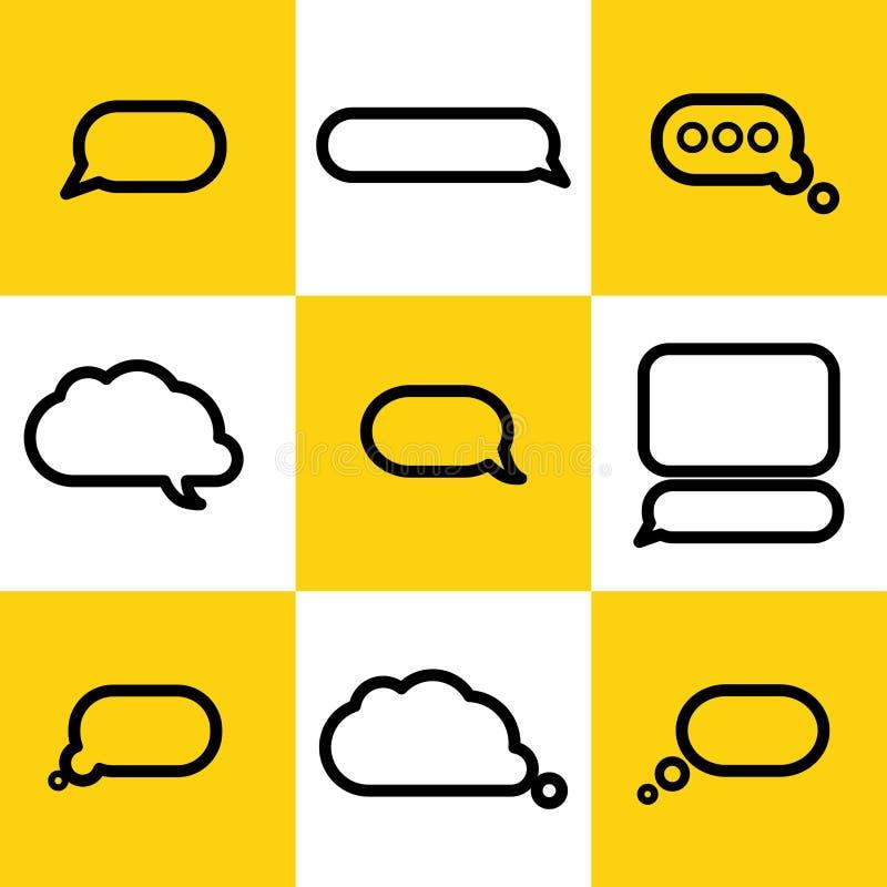 Vektorsamling av plana textballonger royaltyfri illustrationer