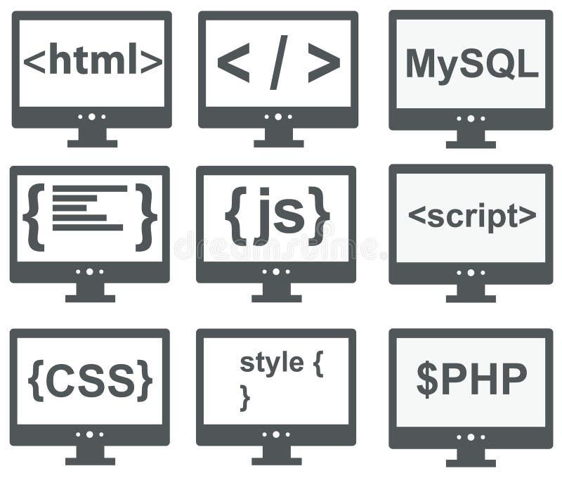 Vektorsamling av rengöringsdukutvecklingssymboler: html css, etikett, mysq stock illustrationer
