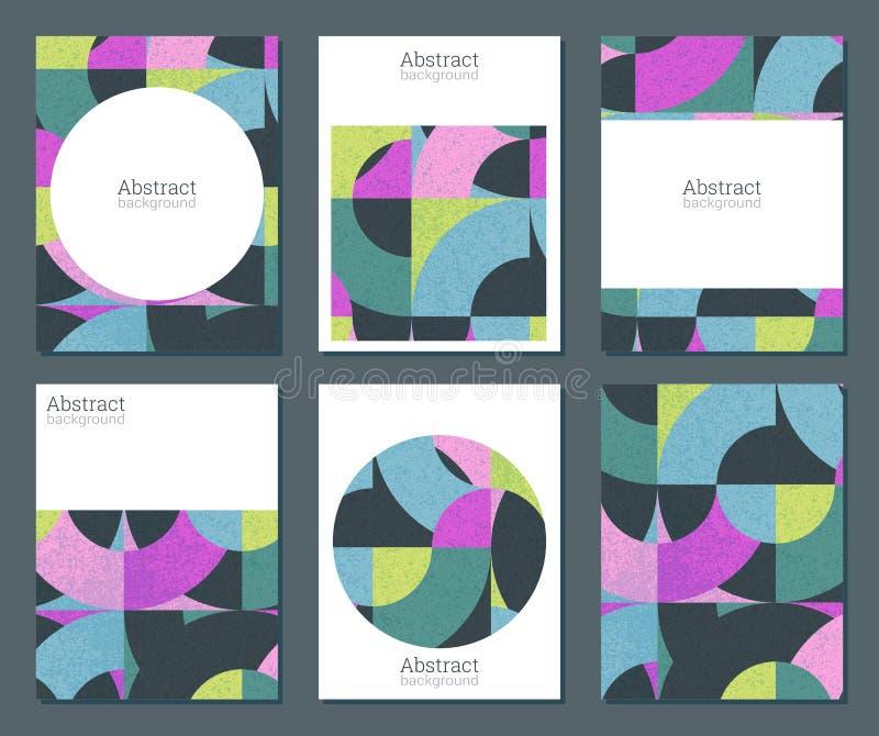 Vektorsamling av sex kort med f?rgrika geometriska former och grungetextur royaltyfri illustrationer