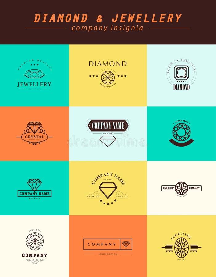 Vektorsamling av smycken- och diamantlogoer stock illustrationer