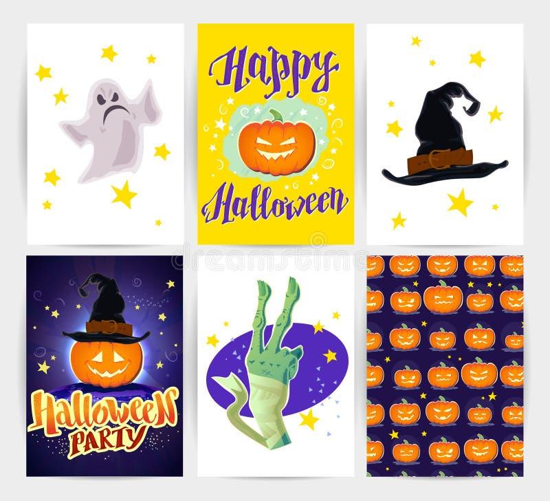 Vektorsamling av spöklika kort för tecknad filmallhelgonaafton och partiinbjudningar och reklamblad med bokstäver, modeller, garn stock illustrationer