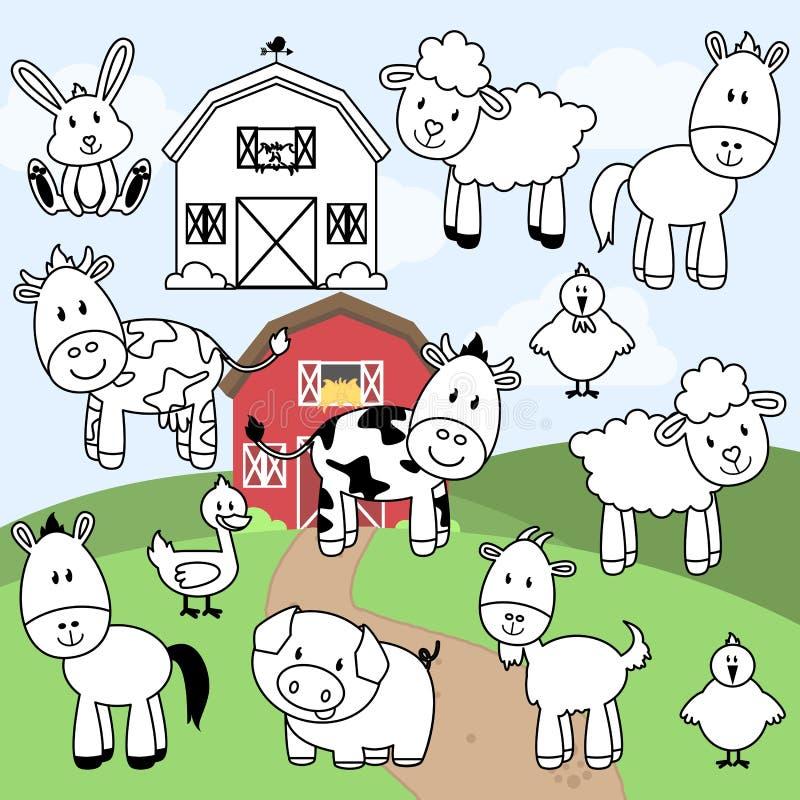 Vektorsamling av stämplar eller linjen konst för lantgårddjur royaltyfri illustrationer