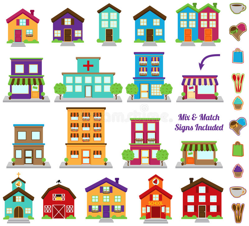 Vektorsamling av stads- och stadbyggnader royaltyfri illustrationer