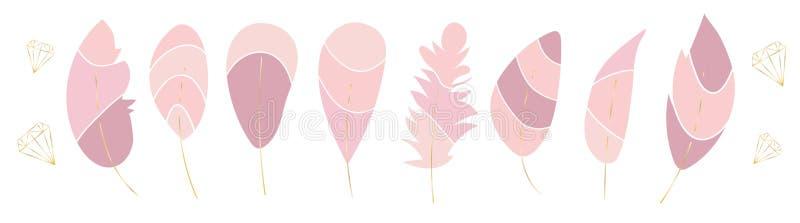Vektorsamling av stilfulla rosa fjädrar och guld- kristaller Moderiktigt modeuppsättning Eleganta romantiska beståndsdelar royaltyfri illustrationer