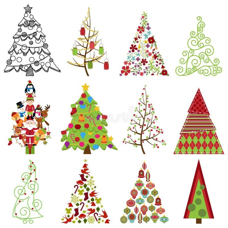 Vektorsamling av stiliserade julgranar vektor illustrationer