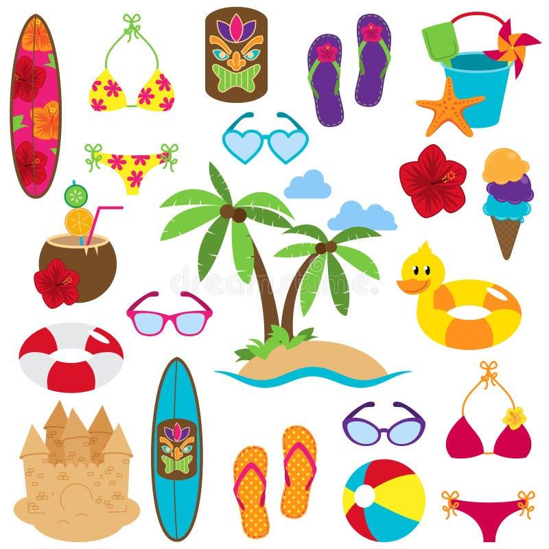Vektorsamling av strand och tropiska Themed bilder stock illustrationer