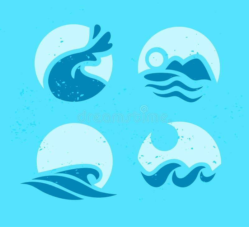 Vektorsamling av symboler för våg för plant vatten på blå bakgrund royaltyfri illustrationer