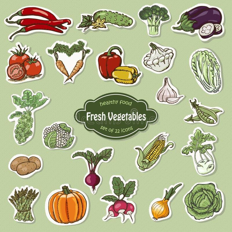Vektorsamling av symbolsgrönsaker stock illustrationer