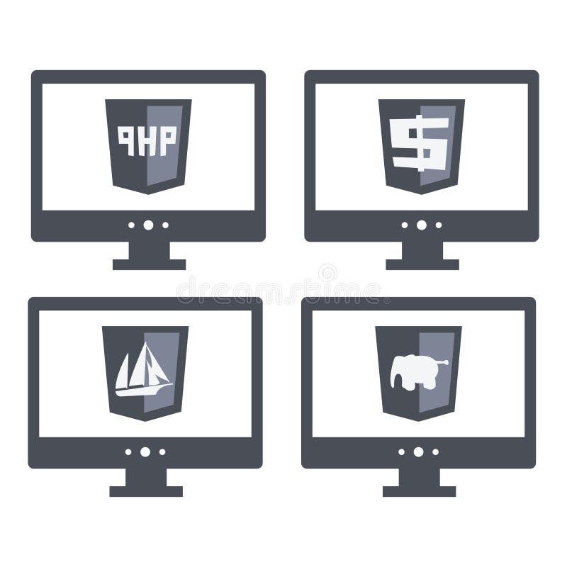 Vektorsamling av tecken för rengöringsdukutvecklingssköld royaltyfri illustrationer