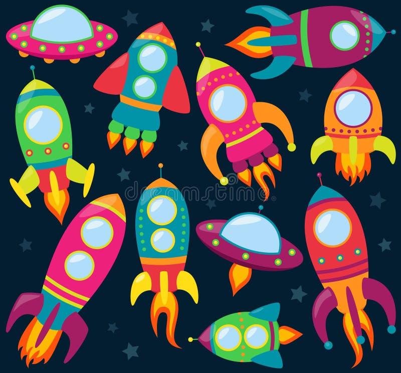 Vektorsamling av tecknade filmen Rocketships stock illustrationer