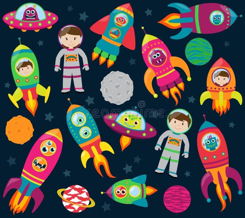 Vektorsamling av tecknade filmen Rocketships, Alients, robotar, astronaut och planeter vektor illustrationer