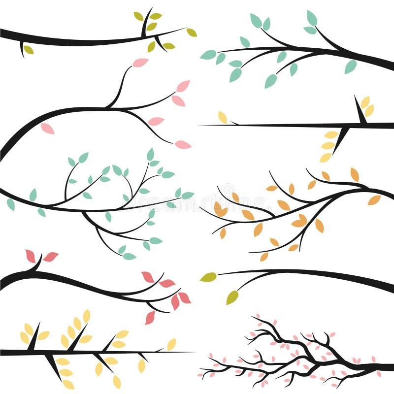 Vektorsamling av trädfilialer vektor illustrationer