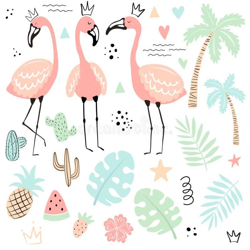 Vektorsamling av tropiska isolerade symboler: flamingo gömma i handflatan, sidor, monsteraen, kaktuns, ananas, vattenmelon, jordg royaltyfri illustrationer
